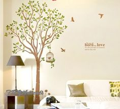 wall decals  Vinyl Wall Decal Nature Design Tree Wall Decals chrildren's wall decals Wallstickers Tree with bird decal:birdcage tree. $64.00, via Etsy.