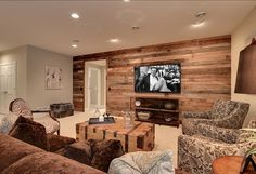Family Room Decor Family Room  - a wood plank wall-- uh yes!  Maybe in the spare room? #home #decor