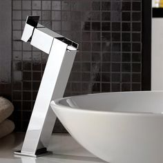 One lever basin mixer with waterfall spout and high neck. Does not include click clack waste. Made out of brass with a chrome finish. Created and manufactured in Italy by Remer. Basin Mixer, Vessel Sink, Bathroom Faucets, Chrome Finish, Powder Room, Bathroom Accessories, Waterfall, Long Lake, Bathtub