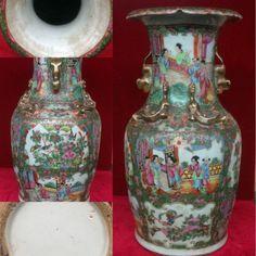 vase en porcelaine de canton,décor de personnages ,décor d'oiseaux .XIX siècle.