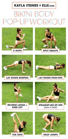 Instagram fitness sensation Kayla Itsines take her 28 minute Bikini Body Body Training Guide and turns it into a 10-minute scorcher of a workout. How to do each move and get quick, incredible results.