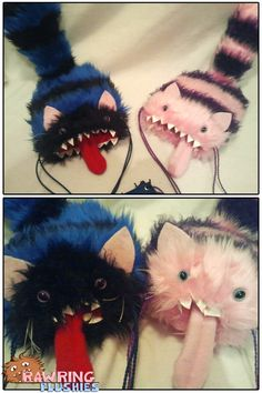 """This was another custom order I recently got and I just had to share them They are my Dicesupials, but with some rather extensive modifications. The idea behind them was """" Nerd Crafts, Cute Crafts, Crafts To Do, Arts And Crafts, Fabric Crafts, Sewing Crafts, Craft Projects, Sewing Projects, Cat Purse"""
