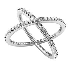 Sterling Silver 925 Cubic Zirconia CZ Criss Cross Ring available at joyfulcrown.com