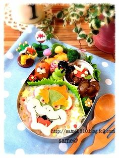 Bowser bento what the what! how can someone have this much patience Best Bento Box, Bento Box Lunch For Kids, Cute Bento Boxes, Lunchbox Ideas, School Lunch Menu, Anime Bento, Amazing Food Art, Kawaii Bento, Rice Ball
