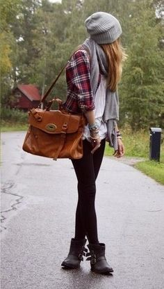 now black boots, stocthings, white shirt, plaid shirt, grey scarf and hat, and a big bag!