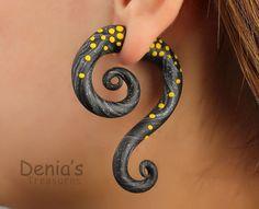 Fake Gauge Earrings - Yellow Dots