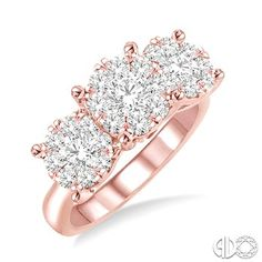 1 1/2 Ctw Invisible Set Round Cut Diamond Ring in 14K Pink Gold