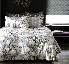 Peacock Duvet Set in Dove - modern - Duvet Covers - Rosenberry Rooms