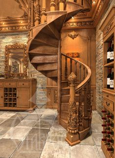 Stairs in the wine cellar