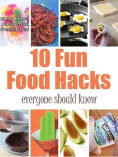 10 Fun Food Hacks. Love the worms and grilled cheese hacks