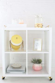 DIY white-and-gold bar cart // IKEA