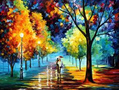 """Night Alley — PALETTE KNIFE Landscape Oil Painting On Canvas By Leonid Afremov - Size: 40"""" x 30"""" (100 cm x 75 cm)"""
