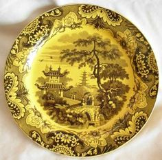 French canary yellow creil plate, c. Primitive Folk Art, Cottage Living, Ceramic Pottery, Tablescapes, Decorative Plates, China, Ceramics, French, Primitives