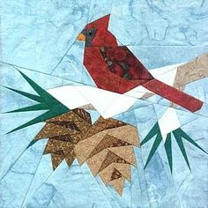 Free Bird Quilt Patterns - Bing Images (check out Quilts - Sane. I put several birds on that board. Paper Pieced Quilt Patterns, Christmas Quilt Patterns, Quilt Block Patterns, Pattern Paper, Bird Quilt Blocks, Block Quilt, Vogel Quilt, Art Texture, Patch Aplique