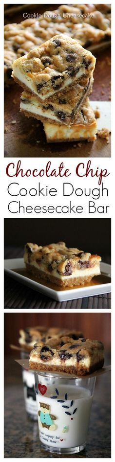 Chocolate Chip Cookie Dough Cheesecake Bar recipe, the BEST cheesecake bar EVER | rasamalaysia.com