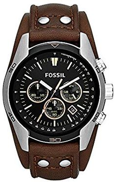 Fossil Men's Cuff Chronograph Tan Leather Watch Go casual with this stainless steel watch. The tan dial features wood accents and chronograph movement Fossil Leather Watch, Brown Leather Strap Watch, Leather Watches, Fossil Watches For Men, Cool Watches, Men's Watches, Jewelry Watches, Fossil Jewelry, Luxury Watches