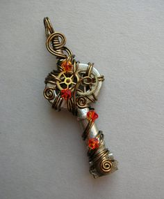 Fire Spark Wire Wrapped Key Pendant