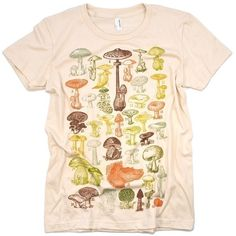Mushrooms Of the World Science Graphic Women's Tee Shirt (22 AUD) ❤ liked on Polyvore featuring tops, t-shirts, shirts, t shirt, graphic tees, vintage shirts, print t shirts, holiday shirts and vintage tee-shirt