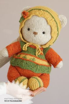 Knitted Cozy Teddy Bear Clothes #knitting #pattern #teddy #bear #doll #clothes #animal #craft #toy Teddy Bear Clothes, Teddy Bear Toys, Teddy Bear Knitting Pattern, Knitting Patterns, Bear Doll, Stuffed Toys Patterns, Clothing Patterns, Doll Clothes, Cozy