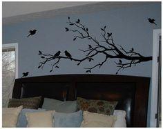 Tree Branch with 10 birds in BLACK Wall Decal Deco Art Sticker Mural  #DigiflareGraphics #ModernDecorArt