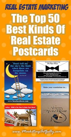 Top 50 Best Kinds Of Real Estate Postcard Ideas | Real Estate Marketing (Updated 2018) Here are 50 of the best kinds of postcard ideas that work. You can send them out to your clients, prospects and past clients to generate leads and make more sales. Whether you are prospecting buyers, sellers, expireds, first time homebuyers or just need some messages to send, these tips will help! #realestate #marketing
