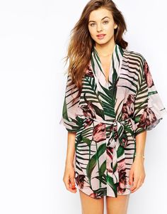 Image 1 ofTed Baker Nude Palm Floral Kimono