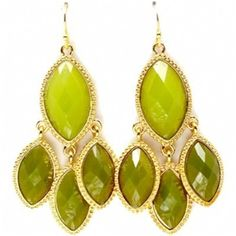 Mava's Chunky Green Marquise Stone Chandelier Earrings