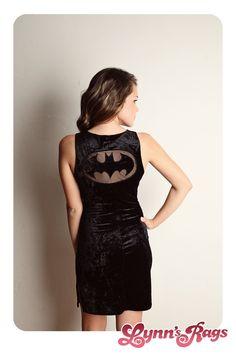 Vintage BATMAN Black Mini Dress Velvet Netting Punk Tank Sexy Comic. $50.00, via Etsy.