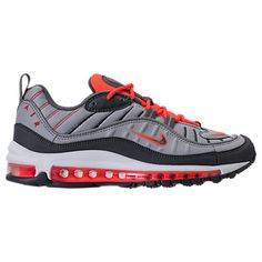 NIKE MEN'S AIR MAX 98 RUNNING SHOES, GREY/RED. #nike #shoes # Nike Men, Nike Air Max, Nike Shoes, Running Shoes, Pairs, Mens Fashion, Grey, Classic, Sneakers