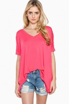 Cozy Short Sleeve V Neck Tee in Hot Pink by Piko