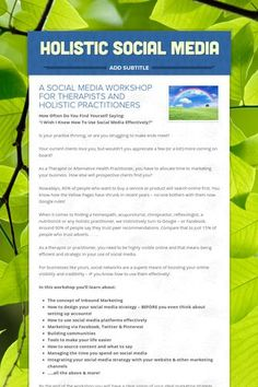Social Media For Therapists - Maximum Results in Minimum Time  a workshop for therapists, alternative health or holistic practitioners, salon and spa owners.  Book now!