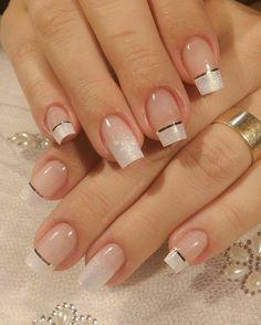 Nail Designs Bling, French Nail Designs, Nail Art Designs, French Acrylic Nails, French Tip Nails, Elegant Nails, Stylish Nails, Bridal Nails, Wedding Nails