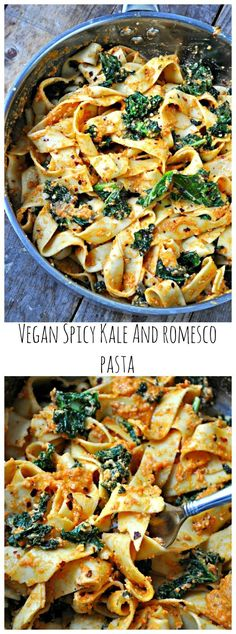 Vegan Spicy Kale and Romesco Pasta Quick sauteed garlicky, spicy kale. Tossed together with pasta. This vegan spicy kale and romesco pasta is the perfect healthy meal! Vegan Foods, Vegan Dishes, Vegan Vegetarian, Vegetarian Recipes, Healthy Recipes, Healthy Meals, Healthy Dishes, Paleo Diet, Vegetarian Main Dishes