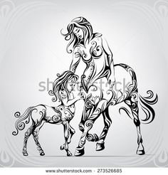 Mother and child centaurs in the ornament - stock vector