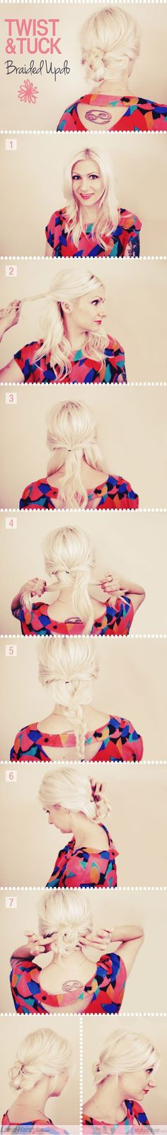 a cute tuck in hairstyle suitable for work a party or even school :)