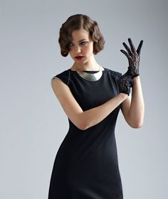 Little Black Jersey Dress  Sarafan white print  by GalitBechor, $145.00