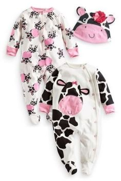 Buy Two Pack Character Sleepsuits from the Next UK online shop Baby Girl Clothes Uk, Baby Boy Outfits, Kids Outfits, Babies Clothes, Babies Stuff, Girl Clothing, Cow Baby Showers, Baby Girl Newborn, Baby Gap