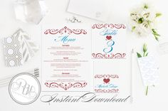 Ruby Red Anniversary Menu Table Number by RBHDesignerConcepts