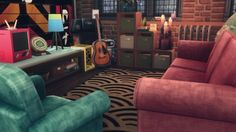 """pictureamoebae: """" TRASH OR TREASURE FABRIC SOFA & CHAIR; COZY CUBBY WITH LOTS-A-SLOTS – recolours by amoebae """" Trash or Treasure Fabric Sofa & Chair (City Living) – SIMFILESHARE Cozy Cubby with..."""