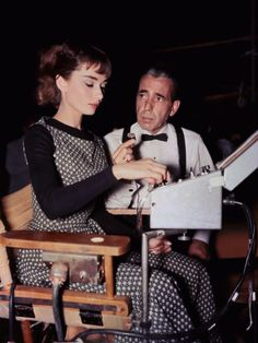 "20th-century-man: "" Audrey Hepburn, Humphrey Bogart; during production of Billy Wilder's Sabrina (1954) """