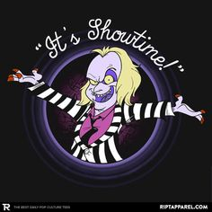 """Beetlejuice T-Shirt by JalopDesign. """"It's show time!"""" is a parody of the Looney Tunes closing sequence for fans of Beetlejuice. Tim Burton Art, Tim Burton Films, 90s Cartoons, Disney Cartoons, Cartoon Shows, Cartoon Art, Looney Tunes, Beetlejuice Cartoon, Beetlejuice Quotes"""