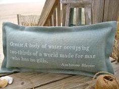 """Tailor Your Babble"" Custom Seaworthy Quote Lumbar Pillows - have anything printed."