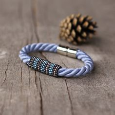 Blue gray silver rope bracelet - magnetic clasp bracelet - simple jewelry - gift under 15