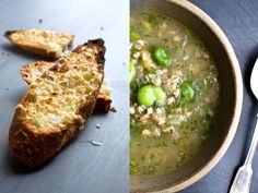 This is a light, sweet onion soup to make when those big, juicy spring onions accompany fresh fava beans in the farmers' market. You can make a quick vegetable stock with the trimmings while you're prepping the ingredients. (Photos: Andrew Scrivani for The New York Times)