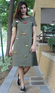 Olive Green Candy Dress from the house of Free Living. Free Living brings you the quirkiest cotton Simple Outfits, Simple Dresses, Casual Dresses, Kurta Designs Women, Blouse Designs, Indian Designer Outfits, Designer Dresses, Casual Frocks, Candy Dress