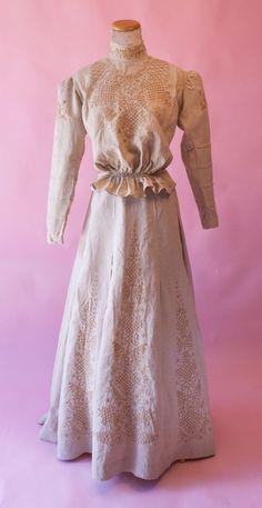 Antique Victorian Edwardian Ecru Linen Cream Embroidered  Suit Jacket Skirt Vtg #Handmade #1900to1910s #WalkingSuit