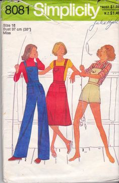Simplicity Sewing Pattern 8081 Misses  overalls in two lengths and jumper.  Top-stitched jumper with back zipper and button trimmed flaps have su e8ad472267