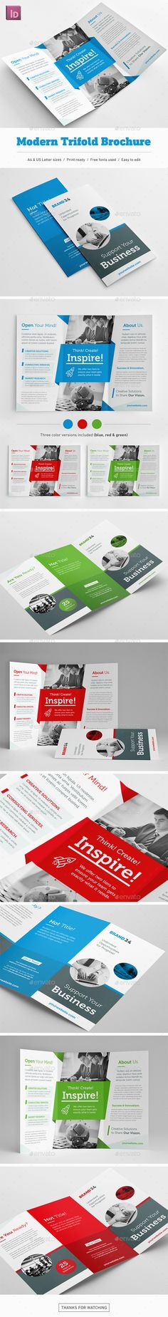 Modern #Trifold #Brochure - Corporate Brochures Download here: https://graphicriver.net/item/modern-trifold-brochure/19755609?ref=alena994