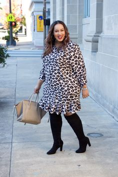 Chic leopard dress plus size fashion fashion, autumn fashion Womens Fashion Casual Summer, Casual Fall Outfits, Cute Summer Outfits, Womens Fashion For Work, Work Outfits, Big Girl Fashion, Curvy Fashion, Women's Fashion, Fashion Outfits