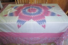 """Beautiful Large 87"""" x 100"""" Lone Star  Shabby Pink/Blue Quilt Top"""